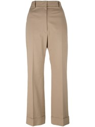 Jil Sander Cropped Tailored Trousers Nude Neutrals