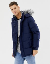 ad4abb4ca0587 Hollister Hooded Puffer Parka Jacket Faux Fur Trim In Navy Navy Grey Trim