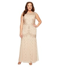 Adrianna Papell Plus Size Cap Sleeve Fully Beaded Lattice Motif Gown Champagne Women's Dress Gold