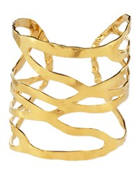 18K Gold Plated Open Weave Cuff Devon Leigh