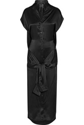 R 13 R13 Tie Front Silk Satin Midi Dress Black
