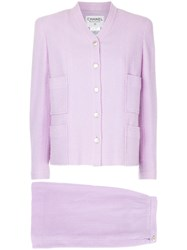 Chanel Vintage Patch Pockets Skirt Suit Pink And Purple