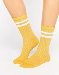 Asos Stripe Ribbed Ankle Socks Yellow