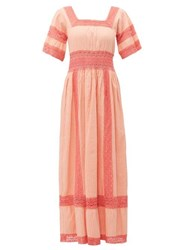 Luisa Beccaria Square Neck Lace Trim Cotton Dress Pink