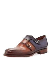 Magnanni Two Tone Leather Double Monk Shoe Brown
