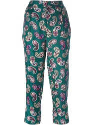 Msgm Paisley Print Cropped Trousers Green