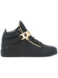 Giuseppe Zanotti Design Plate Buckle Mid Top Sneakers Black