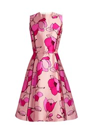 Oscar De La Renta Floral Print Silk Mikado Midi Dress Light Pink