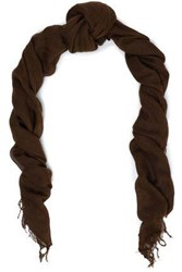 Chan Luu Fringe Trimmed Cashmere And Silk Blend Cashmere Scarf Chocolate