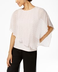 Msk Metallic Dot Pleated Popover Top Blush Silver