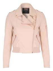 Jane Norman Black Pu Bomber Jacket Pastel Pink