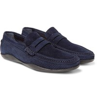 Harry's Of London Harrys Basel 4 Perforated Suede Penny Loafers Navy