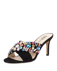 Neiman Marcus Vibe Jeweled Suede Mule Black Multi