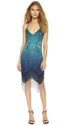Haute Hippie Ombre Beaded Dress Aqua Multi