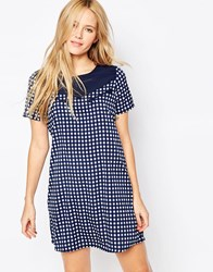 Noisy May Aubrey Western Check Dress Black Iris Navy
