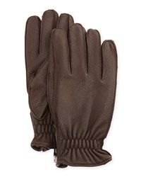 Portolano Cashmere Lined Leather Gloves Brown