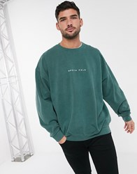 Topman Oversized Christmas Sweat With North Pole Slogan In Washed Green