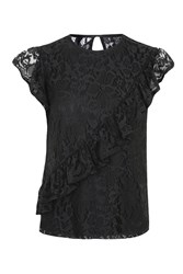 Topshop Lace Asymetrical Ruffle Shell Top Black
