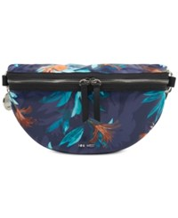 Nine West Imogen Small Belt Bag Navy Multi Black Tropical Palm Print