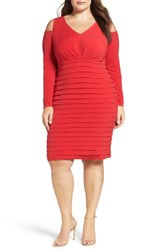 London Times Plus Size Women's Cold Shoulder Shutter Pleat Jersey Sheath Dress