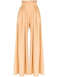 Vika Gazinskaya Pleated Wide Leg Trousers Brown