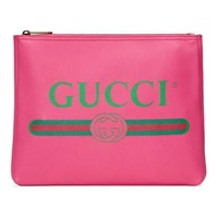 Gucci Print Leather Medium Portfolio Pink