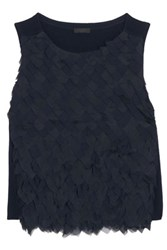 J.Crew Collection Chiffon And Organza Paneled Merino Wool Top Midnight Blue