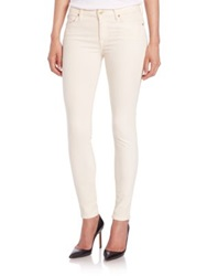 7 For All Mankind Brushed Sateen Skinny Jeans Winter White