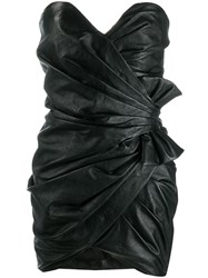 Saint Laurent Strapless Draped Fitted Dress Black