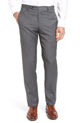 Zanella Men's Flat Front Stripe Wool Trousers Medium Grey