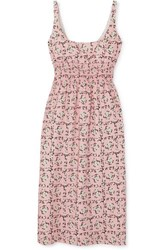 Emilia Wickstead Shirred Floral Print Crepe De Chine Midi Dress Baby Pink