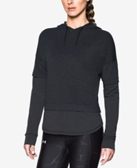Under Armour Terry Layered Look Hoodie Black Graphite