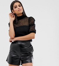 Asos Design Tall High Neck Top In Mesh With Puff Sleeve Black