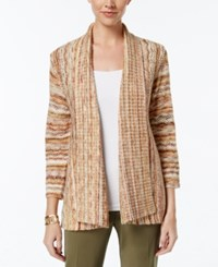 Alfred Dunner Cactus Ranch Collection Space Dyed Open Front Cardigan Multi