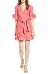 Love Fire Ruffle Faux Wrap Dress Red