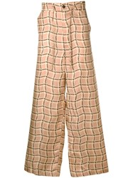 Marni Patterned Loose Fit Trousers Neutrals