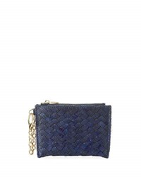 Neiman Marcus Woven Faux Leather Reptile Keychain Pouch Cobalt