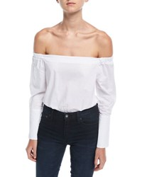 Romeo And Juliet Couture Off The Shoulder Cotton Bodysuit Off White