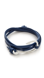 Miansai Hooked Leather Wrap Bracelet Blue White
