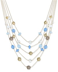 Inc International Concepts Gold Tone Multi Stone 5 Row Necklace Only At Macy's Blue