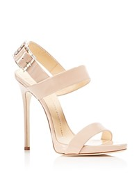 Giuseppe Zanotti Two Band Crystal Buckle Slingback High Heel Sandals Blush