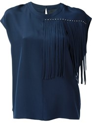 Marco Bologna Fringe Detail Boxy Top Blue