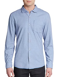 Arnold Zimberg Textured Cotton Sportshirt Blue