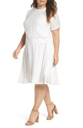 Lost Ink Plus Size Women's Knot Waist Skater Dress White
