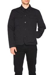 Helmut Lang Textured Cotton Linen Patch Pocket Jacket In Black