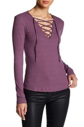 Harlowe And Graham Ribbed Long Sleeve Lace Up Tee Purple