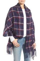 Sole Society Women's Oversize Speckled Plaid Blanket Scarf Navy Multi