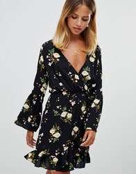 Girl In Mind Flute Sleeve Floral Wrap Dress Multi