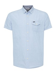 Duck And Cover Plain Classic Fit Short Sleeve Button Down Shirt Light Blue