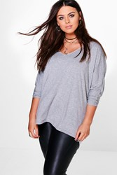 Boohoo Lily Long Sleeve Basic Tee Grey